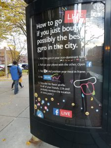 A FB Live ad at a Boston bus stop