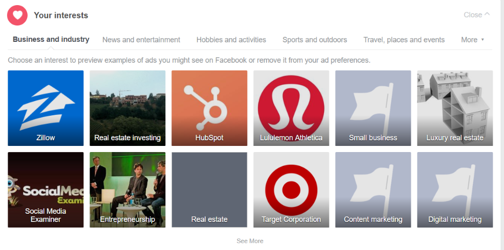 facebook interests and categories